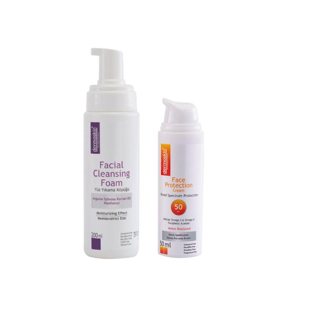 Dermoskin Yüz Yıkama Köpüğü + Dermoskin Face Protection SPF 50 2'li Avantaj Paket