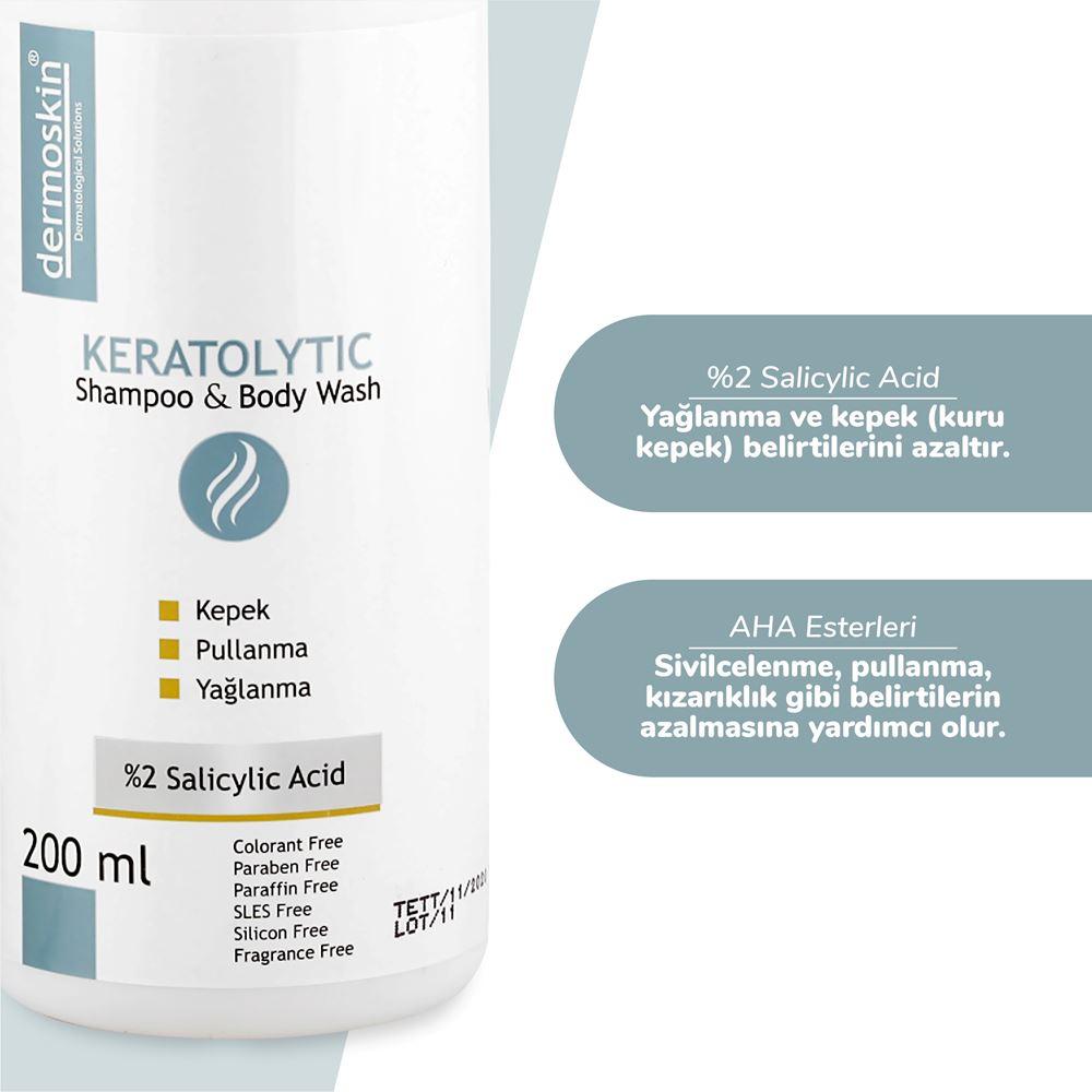 Dermoskin Keratolytic Shampoo & Body Wash - Kuru Kepekli Saç Ve Vücut Şampuanı