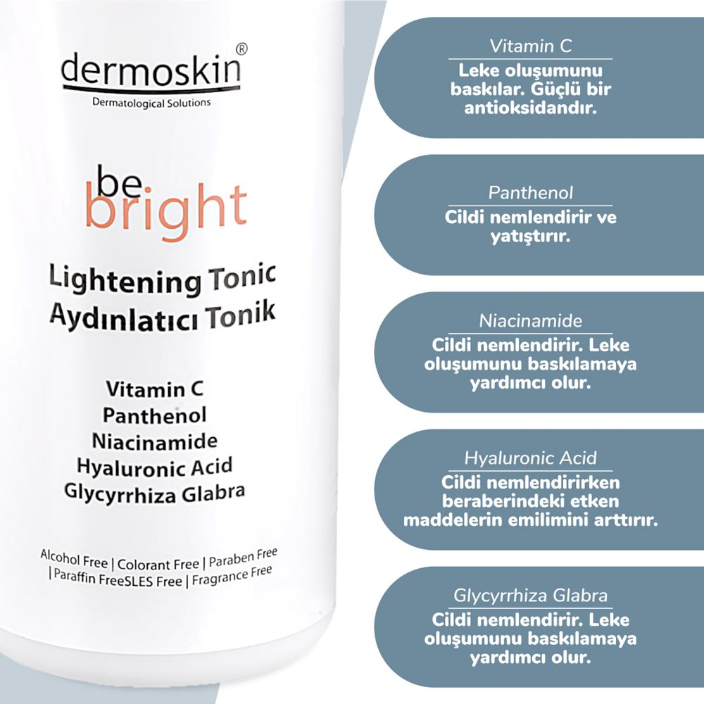 Dermoskin Be Bright AHA BHA 33 ml + Be Bright Aydınlatıcı Tonik  200 ml -2'li Avantaj Paket