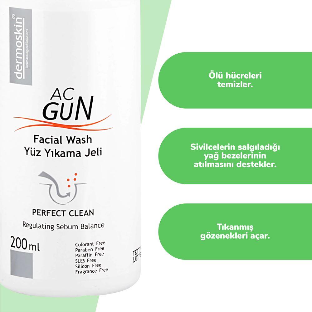 Dermoskin Acgun Yüz Yıkama Jeli  200 ml + Dermoskin Acgun Canlandırıcı Tonik 200 ml
